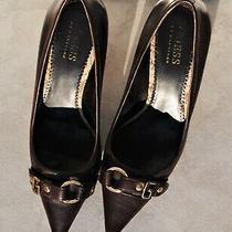 Guess Brown Leather Vintage Kitten Heel Court Shoes Pumps Designer Shoes Photo