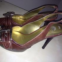 Guess Brown Open Toe Slingbacks Size 6 Photo