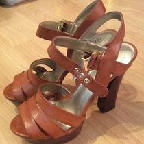 Guess Brown Platform Chunky Heel Pump Sandal Ankle-Strap Womens 6.5 Photo