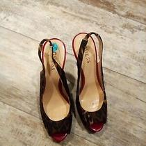 Guess Brown & Red Animal Print Peep Toe Heels Size 7.5 Medium  Photo