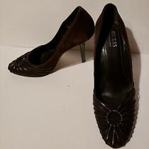 Guess Brown Suede Heels Pumps Size 7 Work Shoes Sexy Detailing Round Toe Photo