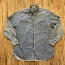 Guess Button Up Shirt Size M Blue Denim Jeans Usa Long Sleeve Mens 90s Vtg Photo