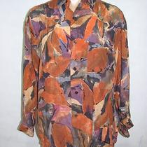 Guess by Georges Marciano Orange Purple Button Down Shirt Top Blouse Size Small Photo