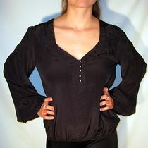 Guess by Marciano Black Silk Blouse Henley Top Flowy Nwt Womens S Small Photo