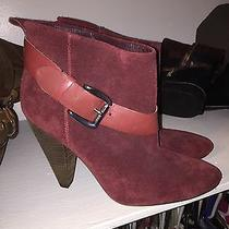 Guess by Marciano Nwob Sz 7 Carolyn Red Burgundy Suede Leather Boot Booties Heel Photo