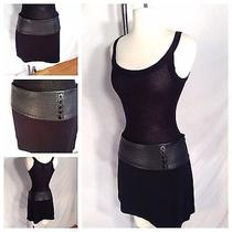 Guess by Marciano Nwt Sexy Black Leather Mini Skirt Sz 10 160 Photo