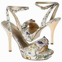 Guess by Marciano Patent Lacquered Platform Sandal Pumps Heels Gold Stiletto Photo