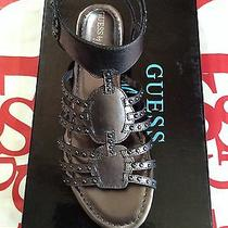 Guess by Marciano Pewter Leather Flat Sandals Open Toe Size 7.5 Photo