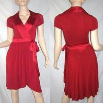 Guess by Marciano Rayon Stretch Red Wrap Pleat Pocketed Curve Hem Dress Xs Photo