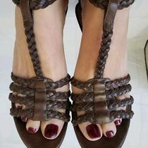 Guess by Marciano T-Strap Braided Wedge Platform Summer Brown Leather 5.5 Photo