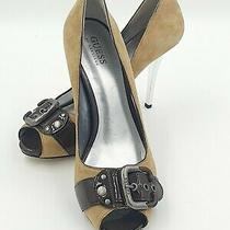 Guess by Marciano Tan Suede Nevel Peep Toe With Buckle Pump Size 9.5au Photo