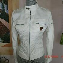 Guess by Marciano Womans Motorcycle Jacket White Zipper Pockets Size S Cotton Photo