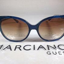 Guess by Marciano Women's Cat Eye Sunglasses Blue Snake Brown Gradient Lens New Photo