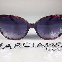Guess by Marciano Women's Cat Eye Sunglasses Red Snake Purple Gradient Lens New Photo