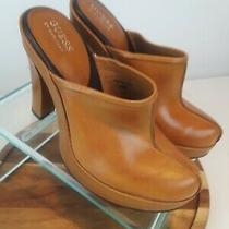 Guess by Marciano Womens High Heel Mule Leather Shoe Size 6.5m Tan  Photo