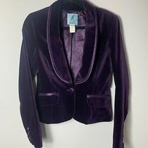Guess by Marciano Womens Velvet One Button Blazer Size 6 Purple Photo