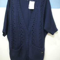 Guess Cardigan Blue Dark Gigi Medium Cable Sweater Coat Navy Cable Dolman Ss New Photo