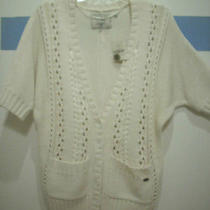 Guess Cardigan Gigi Cable Sweater Coat Cream Cable Offw Dolman Short Sleeves New Photo