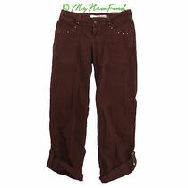Guess Cargo Jeans Size 29 Roll Cuff Stretch Denim Pants Maroon Red B72 Photo