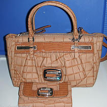 Guess Carlisa Small Satchel & Matching Wallet in Cognac Photo