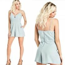 Guess Chambray Romper Size Large Sleeveless With Pockets Photo