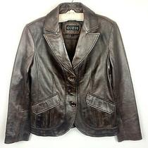 Guess Classic Brown Leather Blazer Style Jacket Womens Size Large Photo