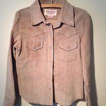Guess Classic Tan Leather Suede Western Shirt Jacket M Photo