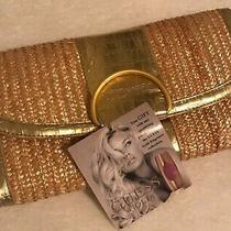 Guess Clutch Handbag Gold Straw Purse Career Formal Cocktail Medium Size New Photo