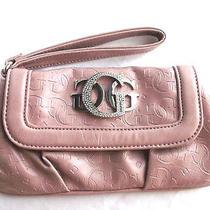 Guess Clutch Handbag Wristlet Purse Glossy Blush G Logo Photo