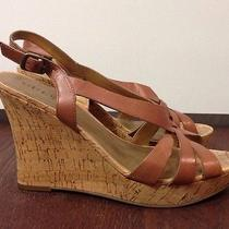 Guess Cognac Leather Wedge Size 8.5 Photo