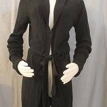Guess Collection Misses Small Black Tie Front Open Style Cardigan Sweater Long Photo