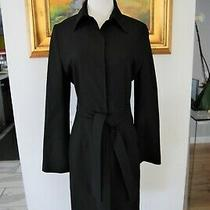 Guess Collection Women's Long Black Coat With Waist Tie Size 8 Photo