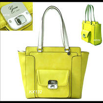 Guess Cordova Yellow Leather Topzip Carryall Tote Shopper Satchel Shoulder Bag  Photo