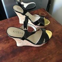 Guess Cork Wedge Heels Black and Gold Size 7 1/2 Photo