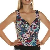 Guess Corset Top Tank Floral Multi New Blue Casual Medium Photo