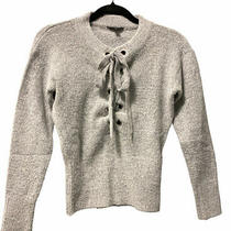Guess  Cozy Soft Lace Neck  Gray Pullover Sweater Small Photo
