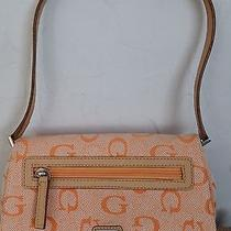 Guess Creamsicle Orange Fabric/leather Small Shoulder Bag Baguette Silver Trim Photo