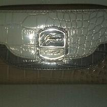 Guess Croc Style Patent Leather Color Block Pink Gray Zip Wallet Wristlet Clutch Photo