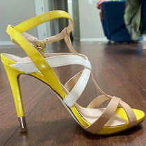 Guess Cutout High Heels in Nude/ White/ Yellow Size 38/8 Photo