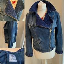 Guess Dark Wash Biker Denim Jacket Blue Lace Collar Sz 8 Gold Hardware Funky Photo