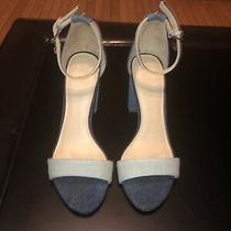 Guess Denim Bamboo Pollee Ankle Strap Heels Sz 8 89 Photo