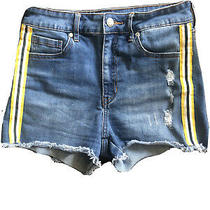 Guess Denim High Rise Shorts Womens 27 With Yellow Accent Photo
