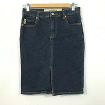 Guess Denim Pencil Skirt Knee Length With Front Slit Size 24 Photo
