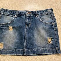Guess Distressed Jean Skirt Size 29 Blue Denim Mini Skirt Photo