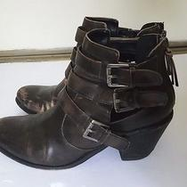 Guess Distressed Strappy Caged Ankle Heels Western  Dark Brown Boots Booties 8 Photo