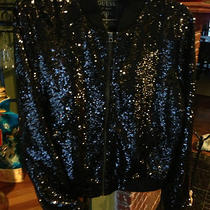 Guess Emily Bomber Sequin Jacket Size M Black Multi Shiny  Photo