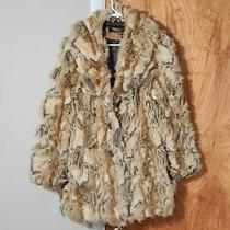 Guess Faux Fur Coat Beige Brown Vintage Large Photo