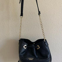 Guess Faux Leather Black Bucket Bag/purse With Gold Accents & Magnetic Clasp Photo
