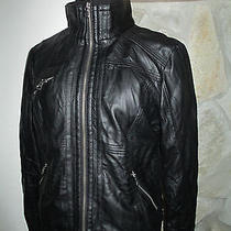 Guess Faux Leather Black Motorcycle Bomber Jacket Size Large  Photo