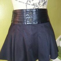 Guess Faux Leather Corsetted Flared Black Mini Skirt Woman Size Xs Sretchy Photo